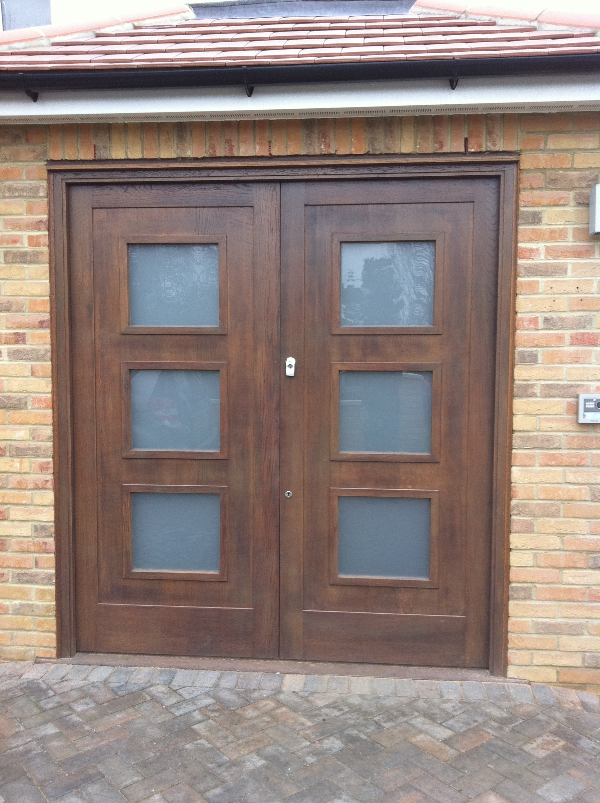 Oak Stained Door with Vision Panels